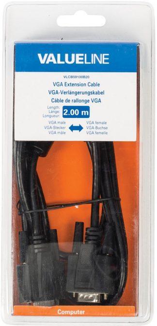 Valueline VGA Verlengkabel VGA Male - VGA Female 15-Pins 2.00 m